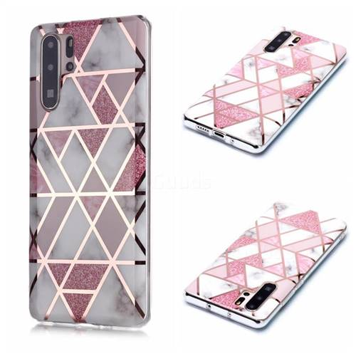 Pink Rhombus Galvanized Rose Gold Marble Phone Back Cover for Huawei P30 Pro