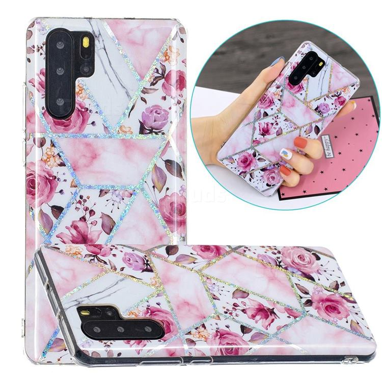 Rose Flower Painted Galvanized Electroplating Soft Phone Case Cover for Huawei P30 Pro