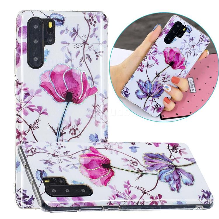 Magnolia Painted Galvanized Electroplating Soft Phone Case Cover for Huawei P30 Pro