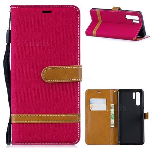 Jeans Cowboy Denim Leather Wallet Case for Huawei P30 Pro - Red