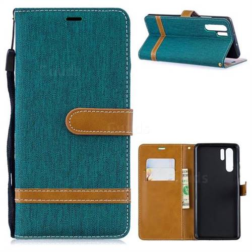 Jeans Cowboy Denim Leather Wallet Case for Huawei P30 Pro - Green