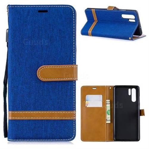 Jeans Cowboy Denim Leather Wallet Case for Huawei P30 Pro - Sapphire
