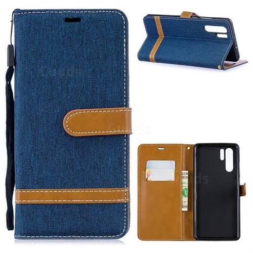 Jeans Cowboy Denim Leather Wallet Case for Huawei P30 Pro - Dark Blue