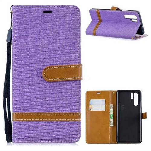 Jeans Cowboy Denim Leather Wallet Case for Huawei P30 Pro - Purple