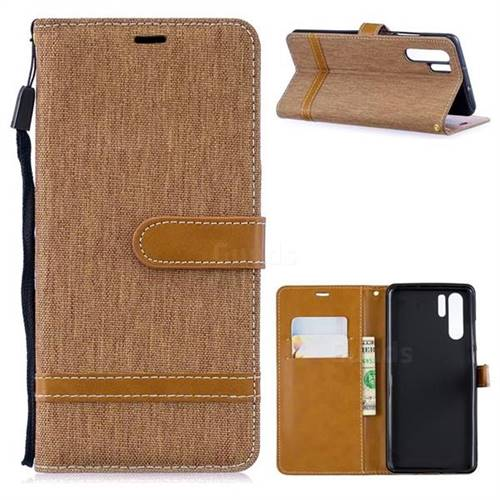 Jeans Cowboy Denim Leather Wallet Case for Huawei P30 Pro - Brown