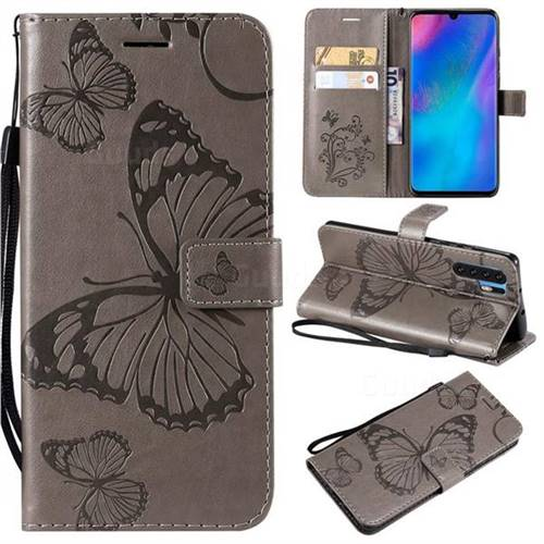 Embossing 3D Butterfly Leather Wallet Case for Huawei P30 Pro - Gray
