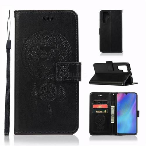 Intricate Embossing Owl Campanula Leather Wallet Case for Huawei P30 Pro - Black