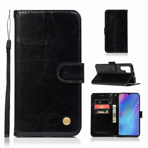 Luxury Retro Leather Wallet Case for Huawei P30 Pro - Black