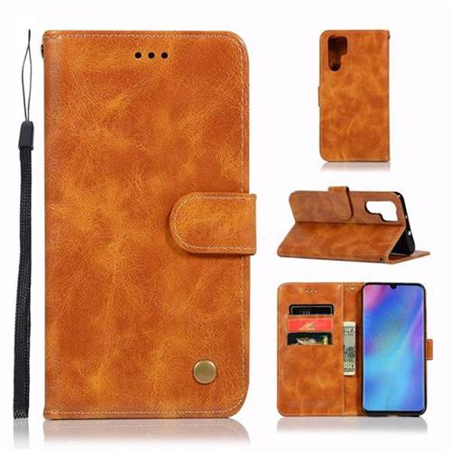 Luxury Retro Leather Wallet Case for Huawei P30 Pro - Golden
