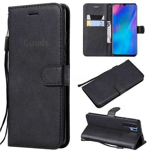 Retro Greek Classic Smooth PU Leather Wallet Phone Case for Huawei P30 Pro - Black