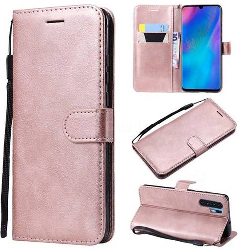 Retro Greek Classic Smooth PU Leather Wallet Phone Case for Huawei P30 Pro - Rose Gold