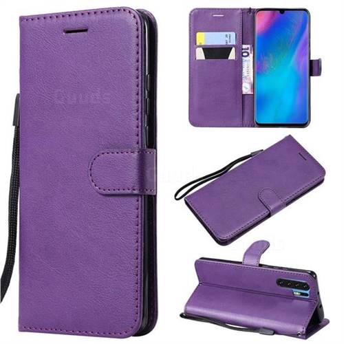 Retro Greek Classic Smooth PU Leather Wallet Phone Case for Huawei P30 Pro - Purple