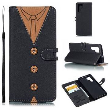 Mens Button Clothing Style Leather Wallet Phone Case for Huawei P30 Pro - Black