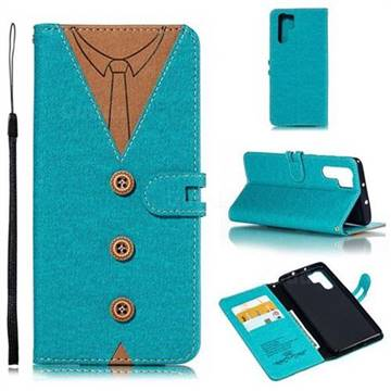 Mens Button Clothing Style Leather Wallet Phone Case for Huawei P30 Pro - Green
