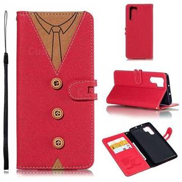 Mens Button Clothing Style Leather Wallet Phone Case for Huawei P30 Pro - Red