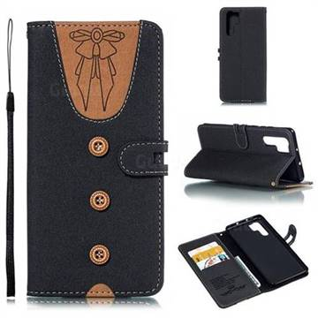 Ladies Bow Clothes Pattern Leather Wallet Phone Case for Huawei P30 Pro - Black