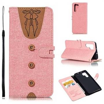 Ladies Bow Clothes Pattern Leather Wallet Phone Case for Huawei P30 Pro - Pink