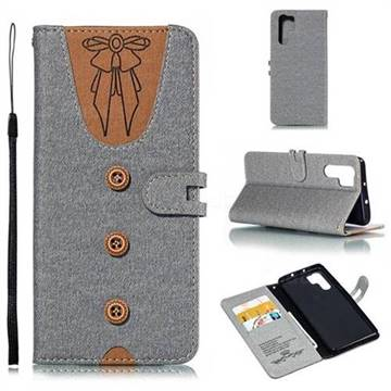 Ladies Bow Clothes Pattern Leather Wallet Phone Case for Huawei P30 Pro - Gray