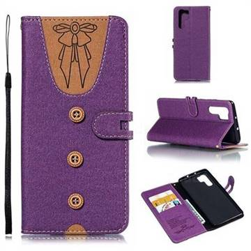 Ladies Bow Clothes Pattern Leather Wallet Phone Case for Huawei P30 Pro - Purple