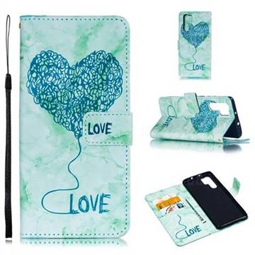 Marble Heart PU Leather Wallet Phone Case for Huawei P30 Pro - Green
