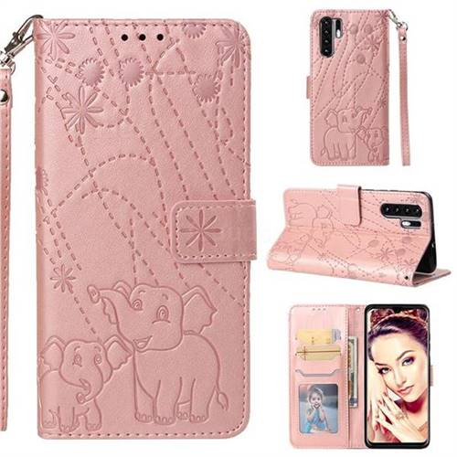 Embossing Fireworks Elephant Leather Wallet Case for Huawei P30 Pro - Rose Gold