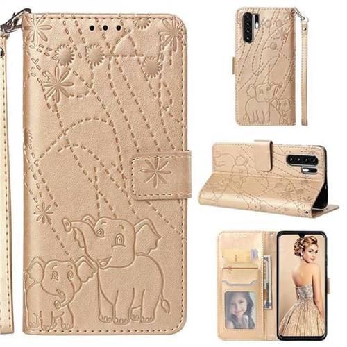 Embossing Fireworks Elephant Leather Wallet Case for Huawei P30 Pro - Golden