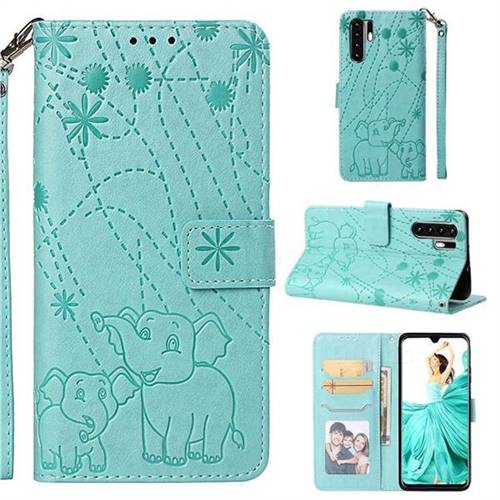 Embossing Fireworks Elephant Leather Wallet Case for Huawei P30 Pro - Green