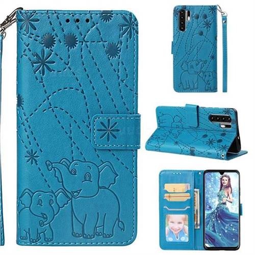 Embossing Fireworks Elephant Leather Wallet Case for Huawei P30 Pro - Blue