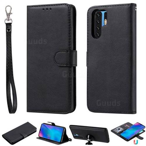 Retro Greek Detachable Magnetic PU Leather Wallet Phone Case for Huawei P30 Pro - Black
