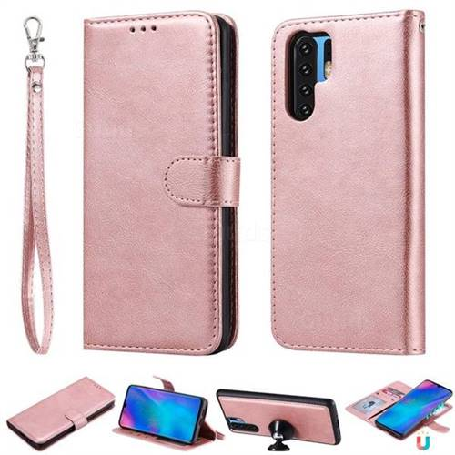 Retro Greek Detachable Magnetic PU Leather Wallet Phone Case for Huawei P30 Pro - Rose Gold