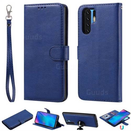 Retro Greek Detachable Magnetic PU Leather Wallet Phone Case for Huawei P30 Pro - Blue