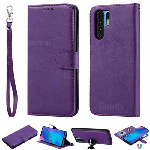 Retro Greek Detachable Magnetic PU Leather Wallet Phone Case for Huawei P30 Pro - Purple