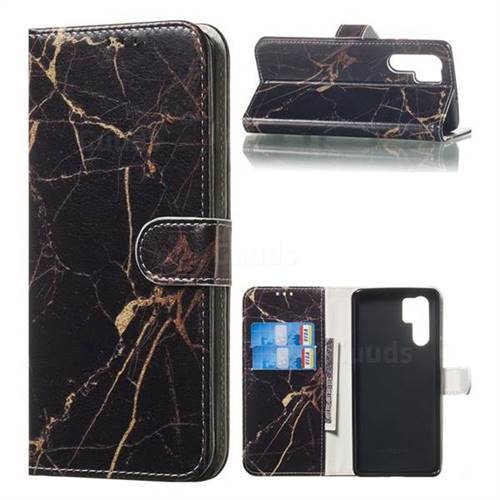 Black Gold Marble PU Leather Wallet Case for Huawei P30 Pro
