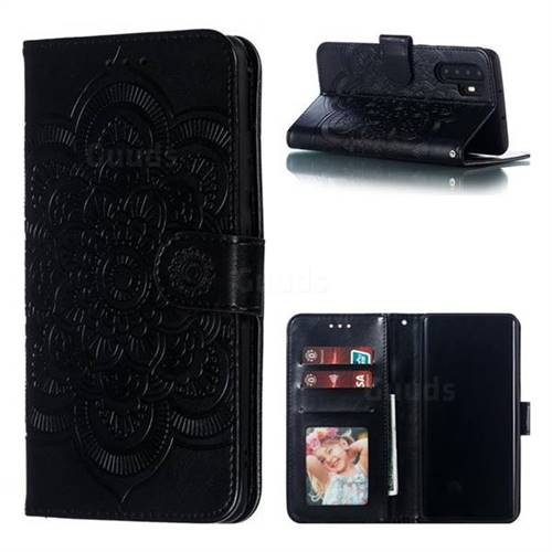 Intricate Embossing Datura Solar Leather Wallet Case for Huawei P30 Pro - Black
