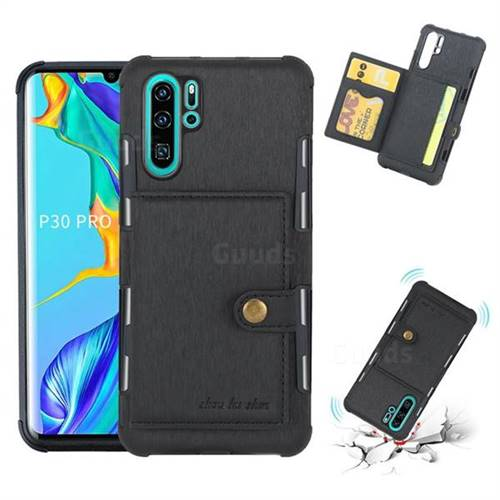 Brush Multi-function Leather Phone Case for Huawei P30 Pro - Black
