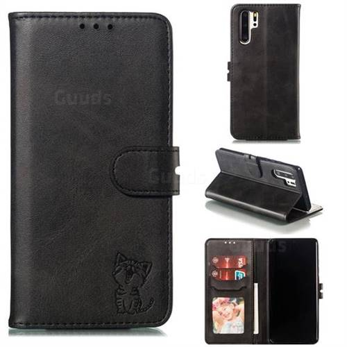 Embossing Happy Cat Leather Wallet Case for Huawei P30 Pro - Black