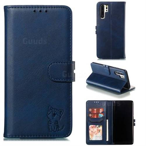Embossing Happy Cat Leather Wallet Case for Huawei P30 Pro - Blue
