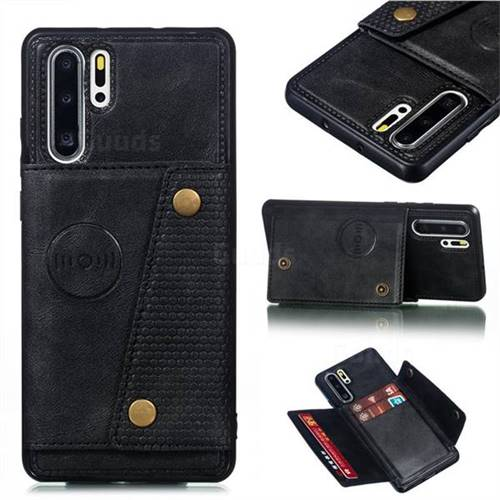 Retro Multifunction Card Slots Stand Leather Coated Phone Back Cover for Huawei P30 Pro - Black