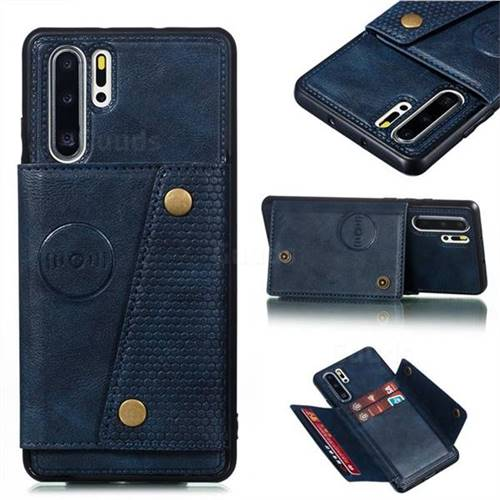 Retro Multifunction Card Slots Stand Leather Coated Phone Back Cover for Huawei P30 Pro - Blue