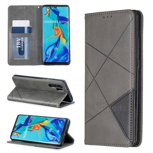 Prismatic Slim Magnetic Sucking Stitching Wallet Flip Cover for Huawei P30 Pro - Gray