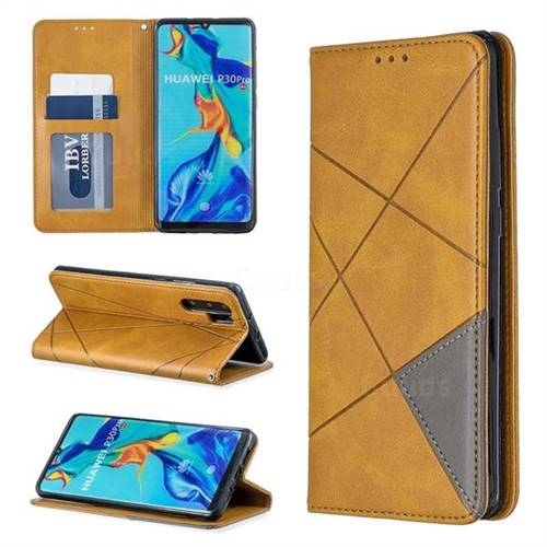 Prismatic Slim Magnetic Sucking Stitching Wallet Flip Cover for Huawei P30 Pro - Yellow