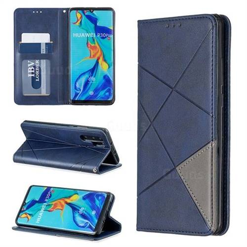 Prismatic Slim Magnetic Sucking Stitching Wallet Flip Cover for Huawei P30 Pro - Blue