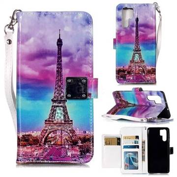 Rainbow Eiffel Tower 3D Shiny Dazzle Smooth PU Leather Wallet Case for  Huawei P30 Pro