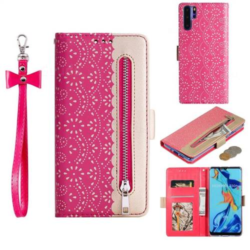 Luxury Lace Zipper Stitching Leather Phone Wallet Case for Huawei P30 Pro - Rose