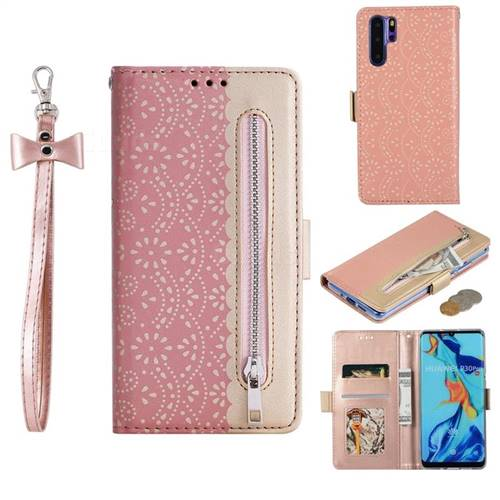 Luxury Lace Zipper Stitching Leather Phone Wallet Case for Huawei P30 Pro - Pink