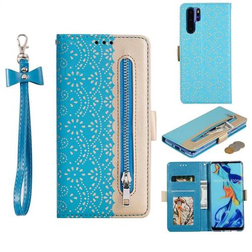 Luxury Lace Zipper Stitching Leather Phone Wallet Case for Huawei P30 Pro - Blue