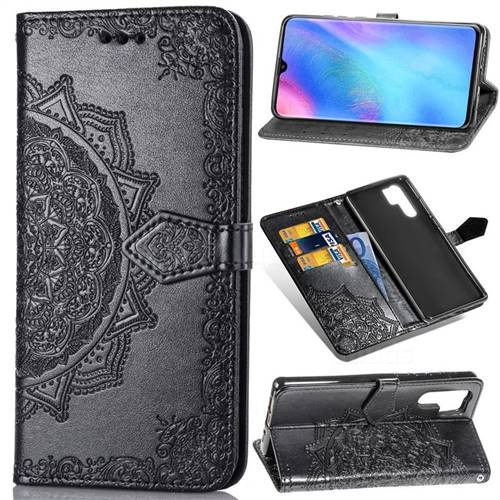Embossing Imprint Mandala Flower Leather Wallet Case for Huawei P30 Pro - Black