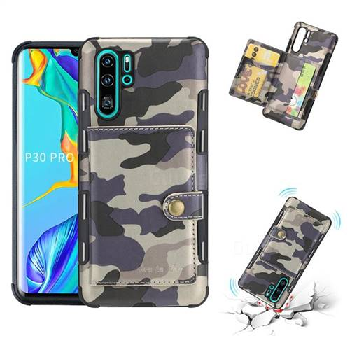 Camouflage Multi-function Leather Phone Case for Huawei P30 Pro - Gray