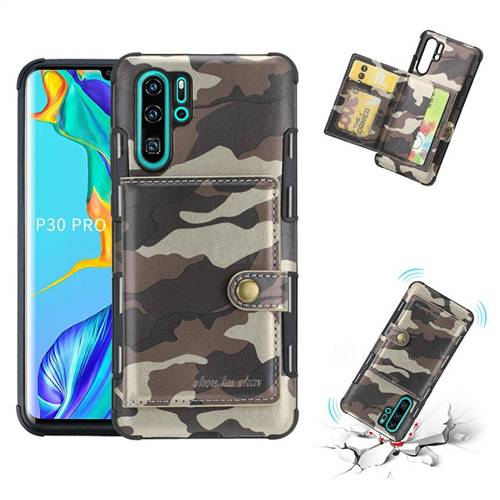 Camouflage Multi-function Leather Phone Case for Huawei P30 Pro - Coffee