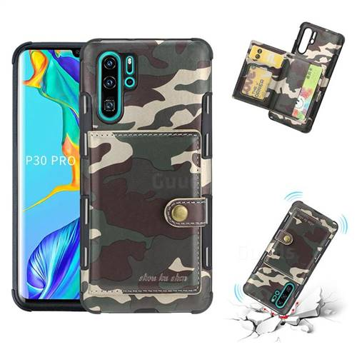 Camouflage Multi-function Leather Phone Case for Huawei P30 Pro - Purple